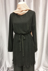 tunique bohème noir mi longue  hijab tunique kaki jilbeb mode modeste fashion  Qalam Dress Boutique