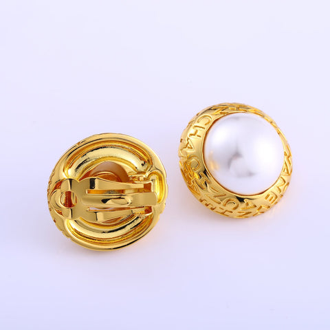 Gold-Tone Bezel-Set Akoya Pearl Clip-On Earrings-AF7001