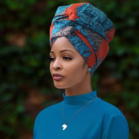 BLUE FLOWER | Headwrap Combined with Nightcap(2 in 1)| -AF1121