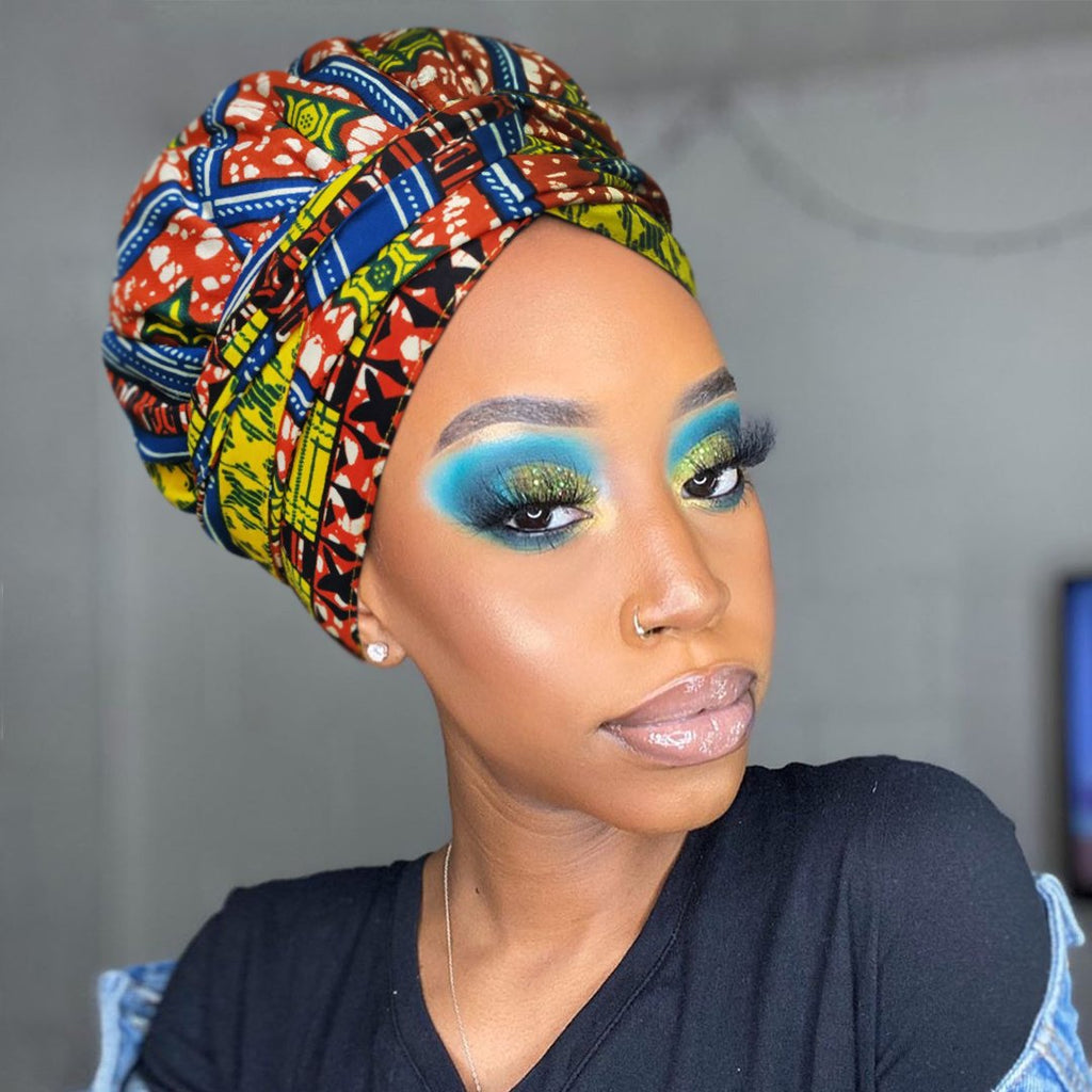African Print Head Wrap With Satin-Lined-AF1171