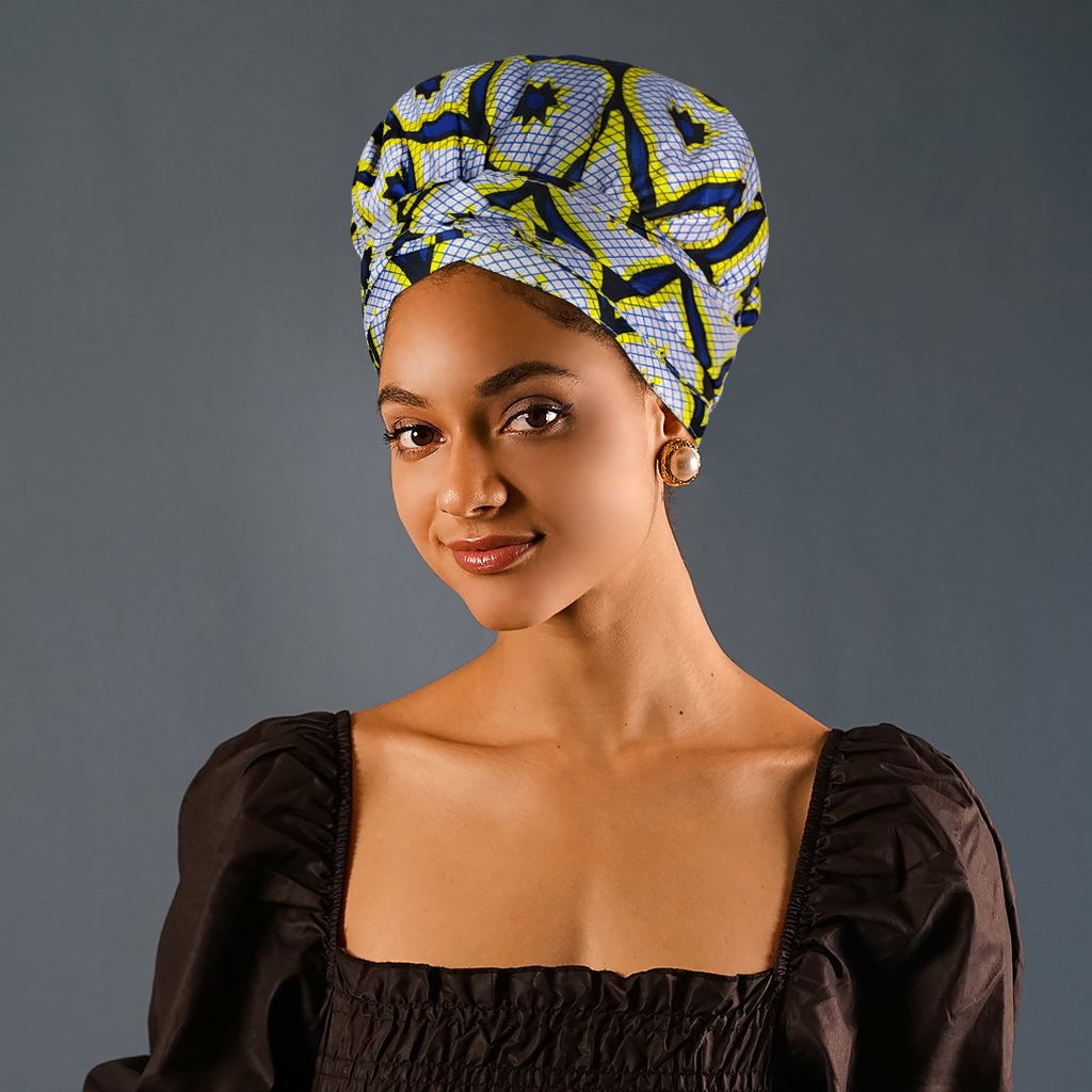 African Print Head Wrap With Satin-Lined-AF1188