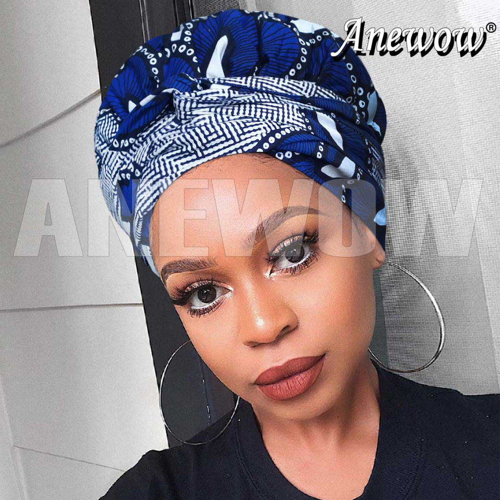 African Print Head Wrap With Satin-Lined-AF1206