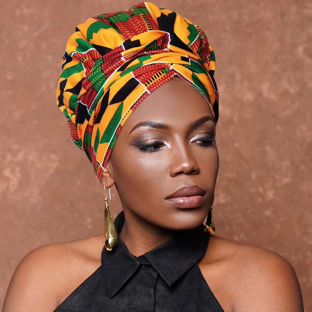 Kente|Headwrap Combined with Nightcap(2 in 1)-AF1700