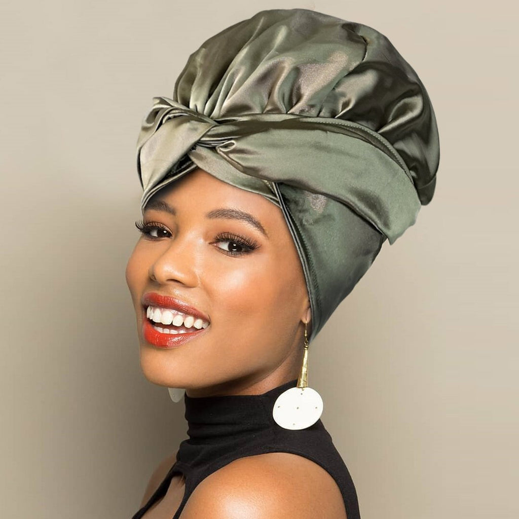 Solid Color Head Wrap With Satin-Lined(Mid Night Green)-AF1808