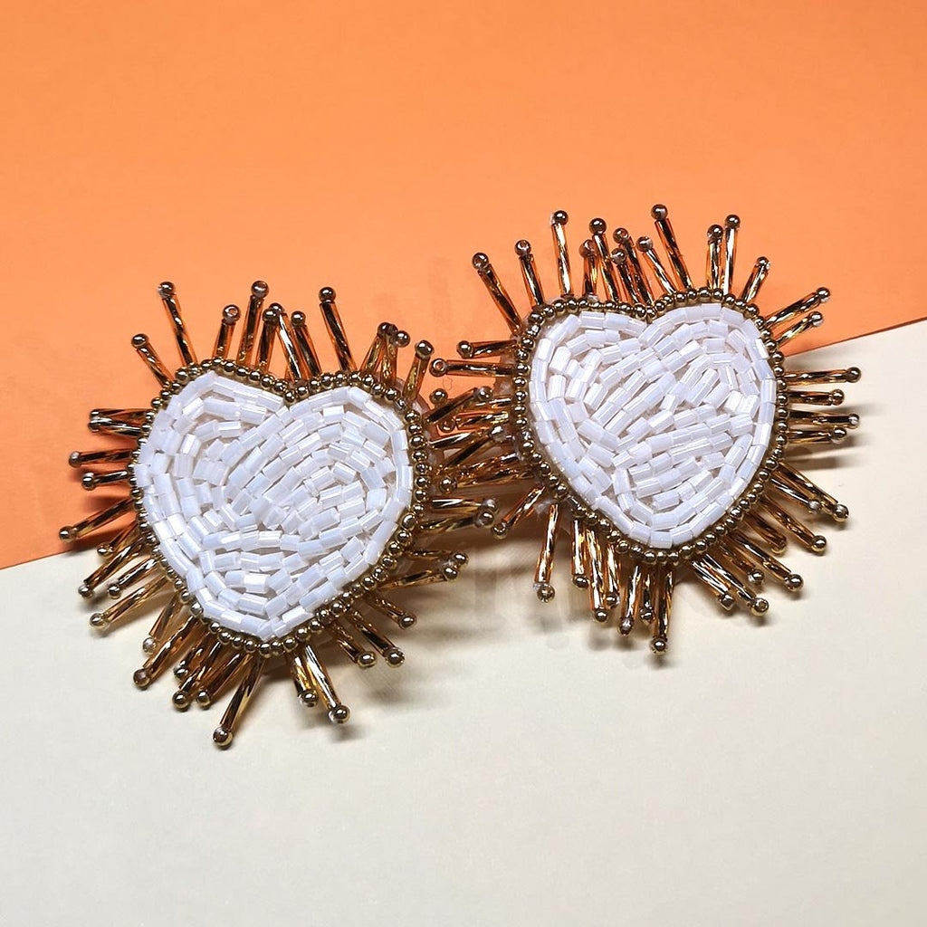 Heart Shaped Earrings (White)- AF7011