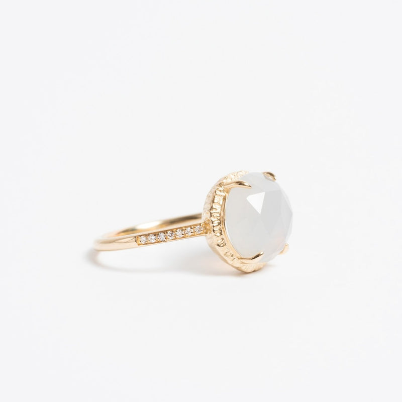 Chalcedony Pave Ring