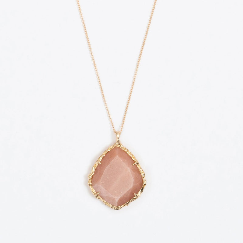 Trapezoid Necklace in Peach Moonstone