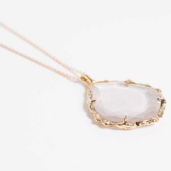 Trapezoid Necklace in Rose Quartz