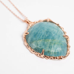 Teardrop Necklace in Aquamarine