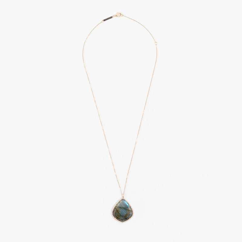 Trapezoid Necklace in Labradorite and Diamonds