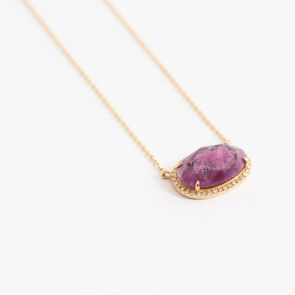 Oval Pave Necklace in Ruby