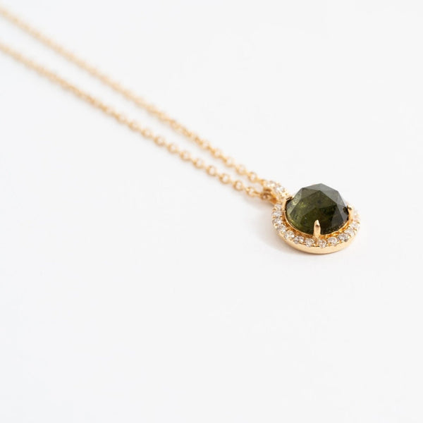 Mini Round Pave Necklace in Tourmaline