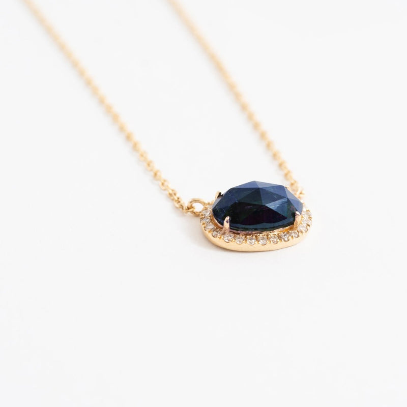 Mini Oval Pave Necklace in Tourmaline