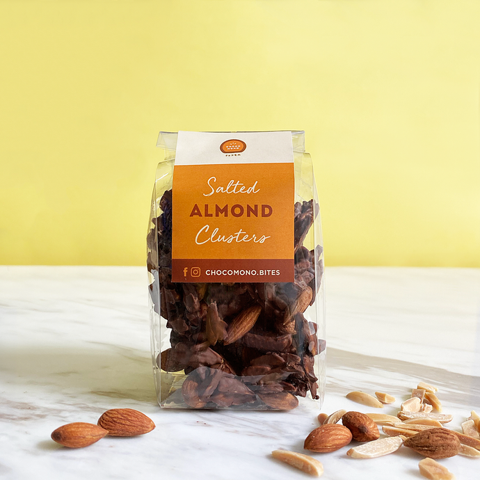 Salted almond clusters - Chocomono
