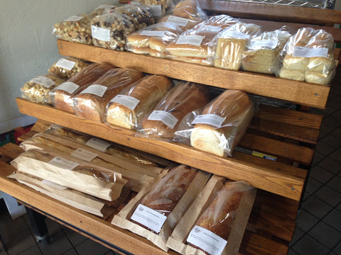 Loaves of fresh baked bread available at Alpine Bakery