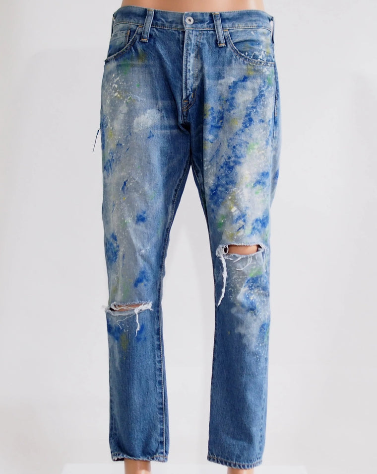 Splattered Tapered Denim