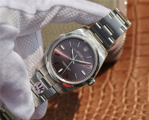 AR Factory Replica Rolex Oyster Perpetual 39mm 114300 with Grape Dial 904L Stainless Steel Case.