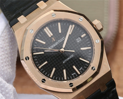 Audemars Piguet Royal Oak 15400 Rose Gold Watch with Black Leather Strap.