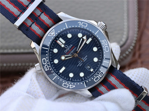 Omega Seamaster 300m Diver Watch with Blue Wave Dial Nylon Strap.