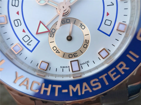 Rolex YachtMaster II 116681 Two Tone Watch with Blue Ceramic Bezel.