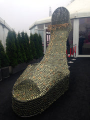 Giant stiletto outside the fashion show