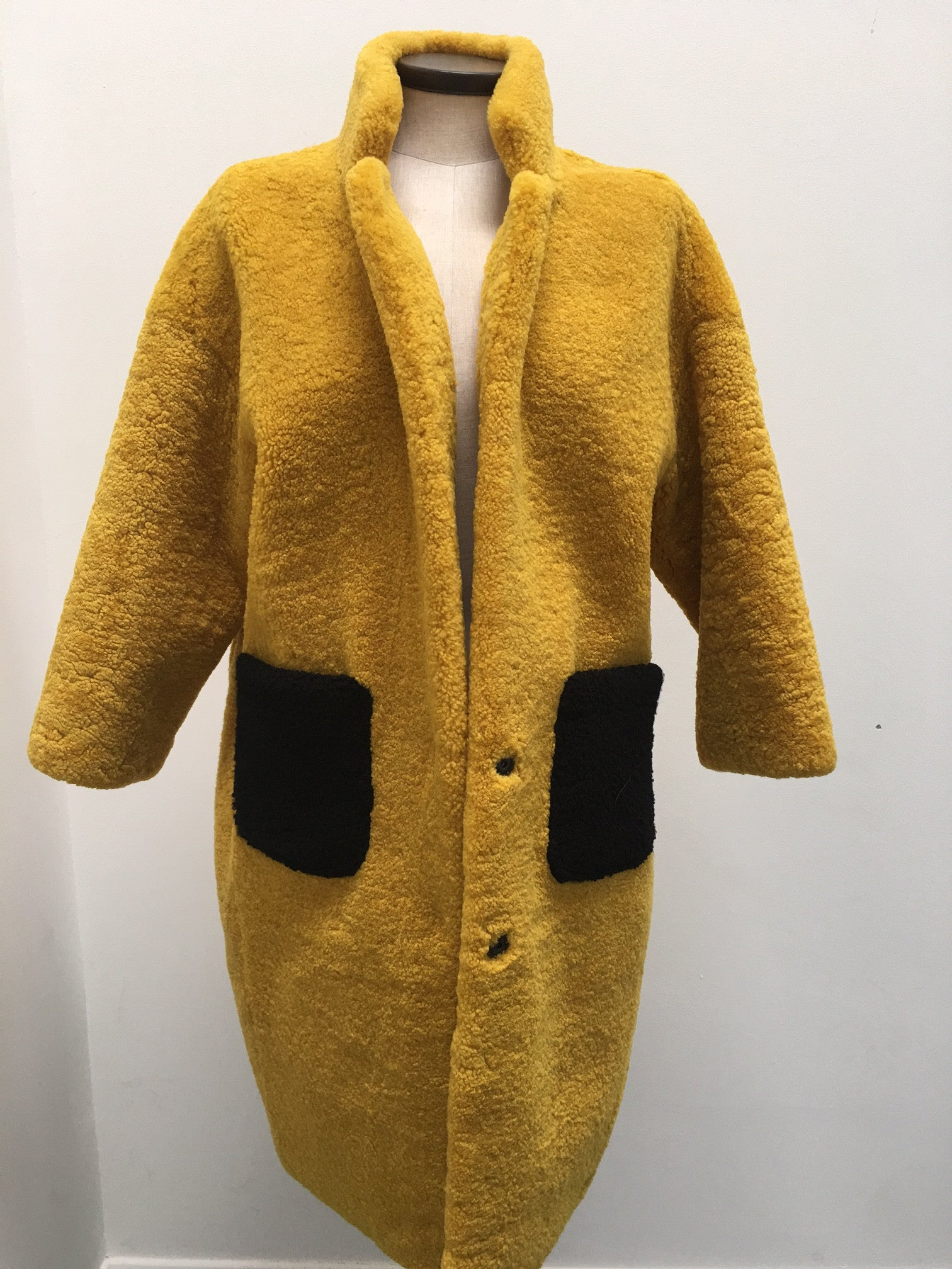 x Mustard Shearling Coat with Patch Pockets - The Soho Furrier