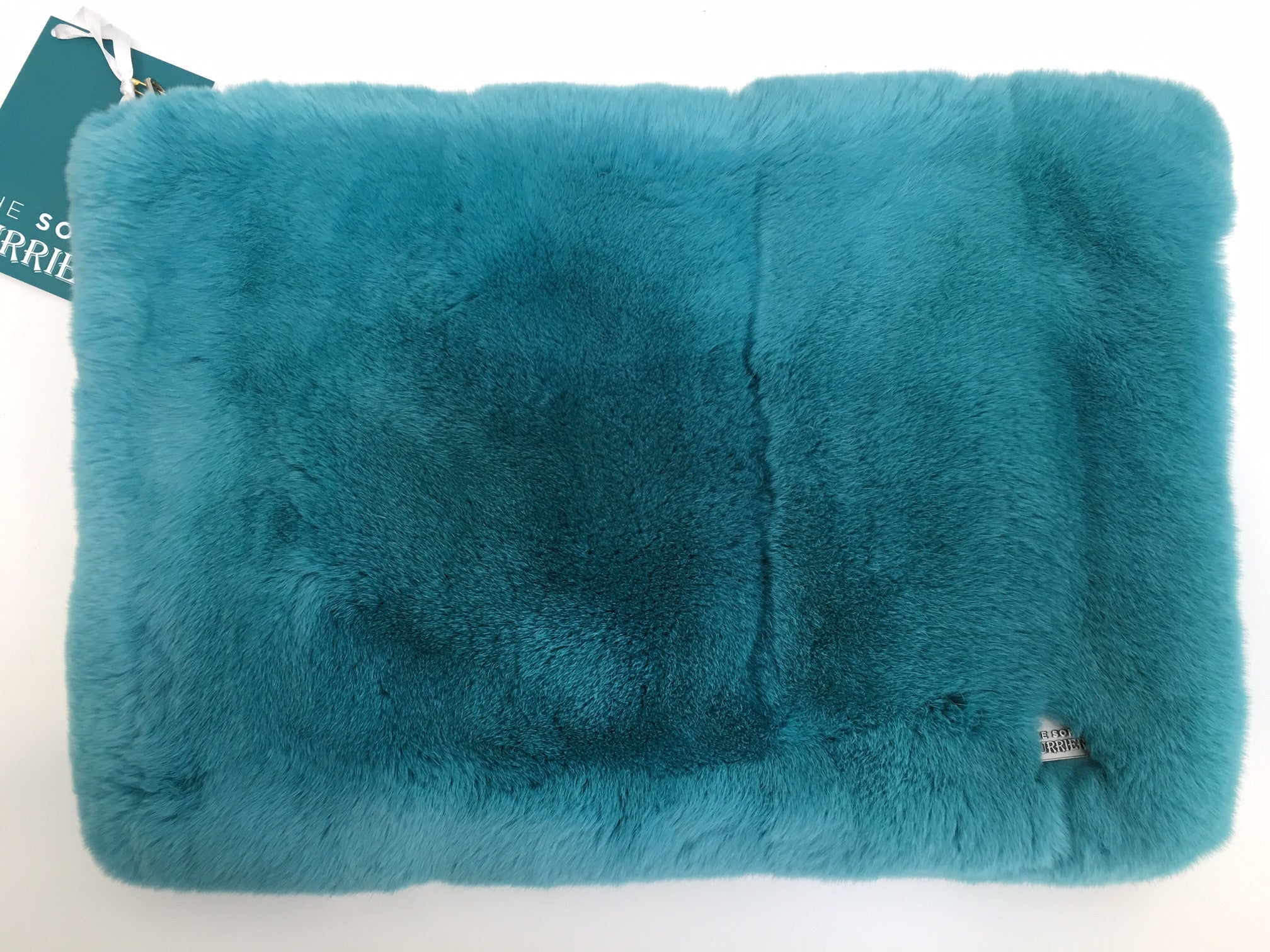 x Oversized Rex Clutch Bag / Laptop Case in Teal - The Soho Furrier