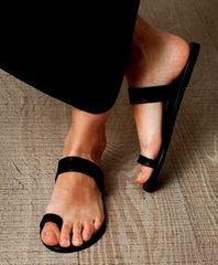 Ancient Greek Sandals Black Thalia