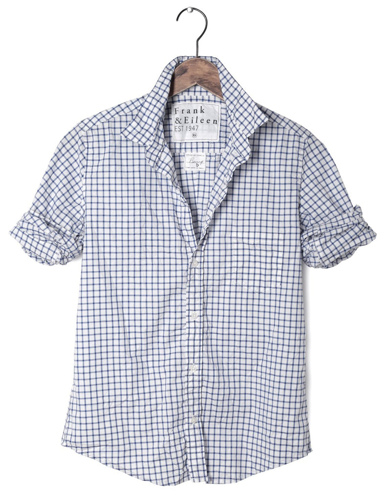 Frank and Eileen Barry Shirt - Navy Grid Poplin