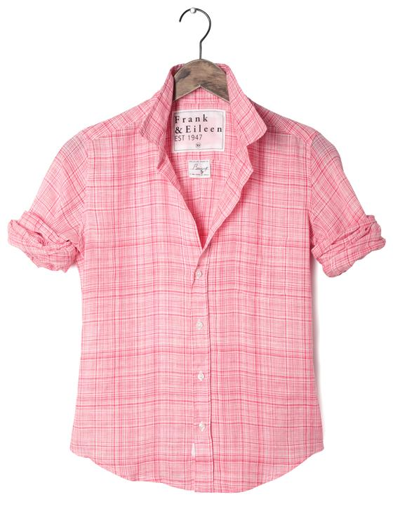 Frank and Eileen Barry Shirt - Strawberry Plaid Linen