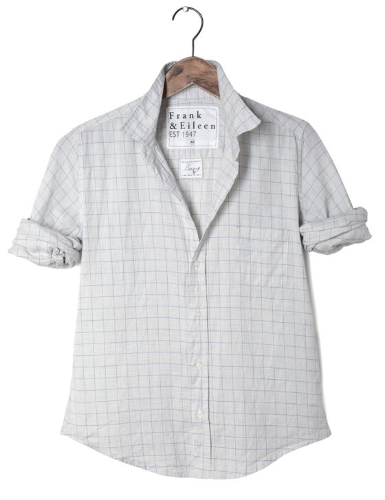 Frank and Eileen Barry Shirt - Grey/Blue Grid
