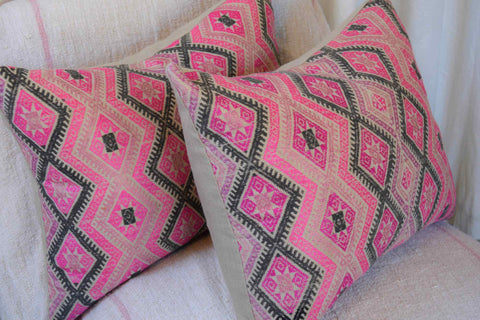 Vintage Batik Pillow - Pink Multi