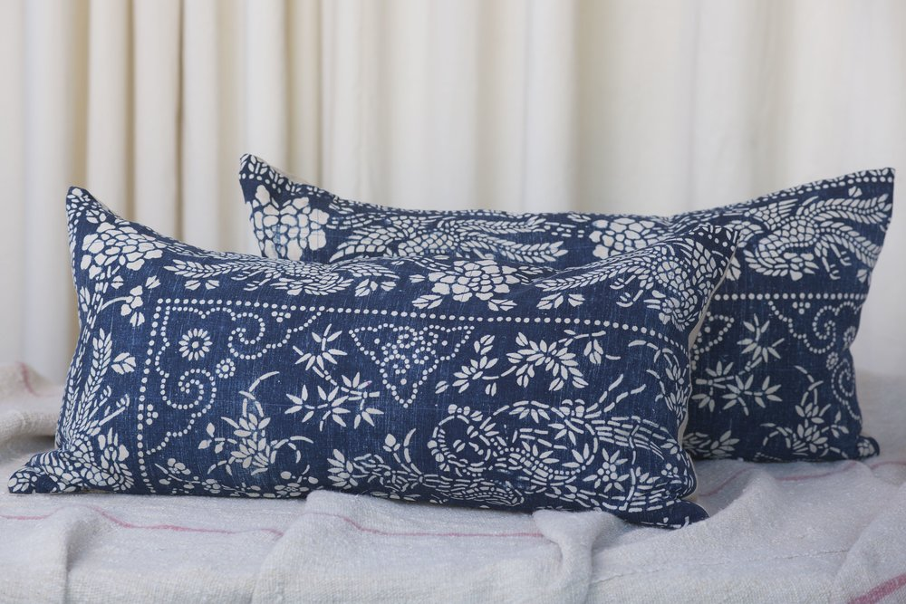 Long Vintage Batik Pillow