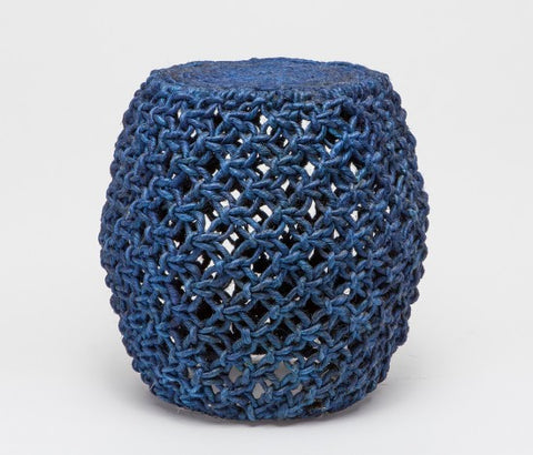 Sarah Rope Stool - Navy