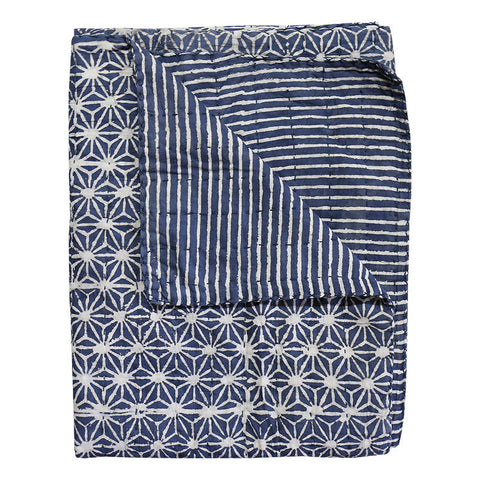 Stars Indigo Cotton Throw