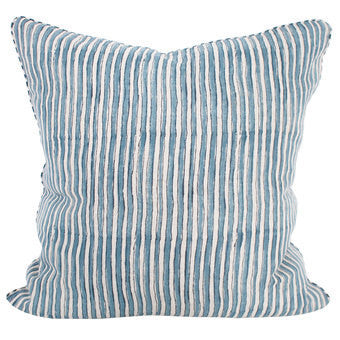 Ticking Stripe Sky Linen Pillow