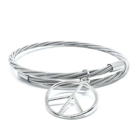 Simply Silver Guitar String Bracelet with Peace Charm