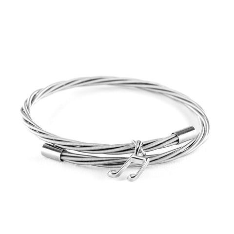 Simply Silver Guitar String Bracelet with Note Charm