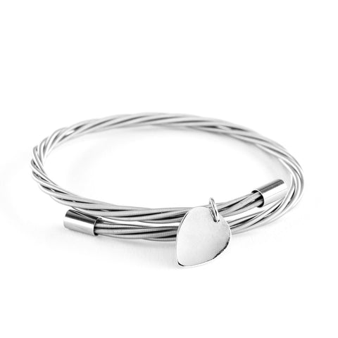 Simply Silver Guitar String Bracelet with Mini Pick Charm