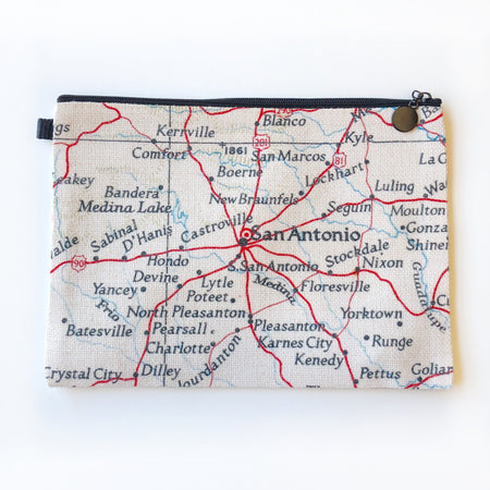 San Antonio Map Zippered Pouch