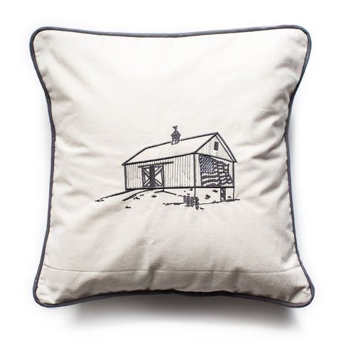 Country Barn embroidered pillow