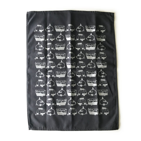 Holiday Campers tea towel