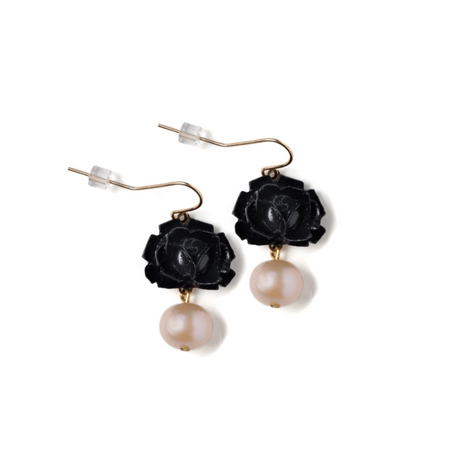 Midnight Garden (black flower) Earrings