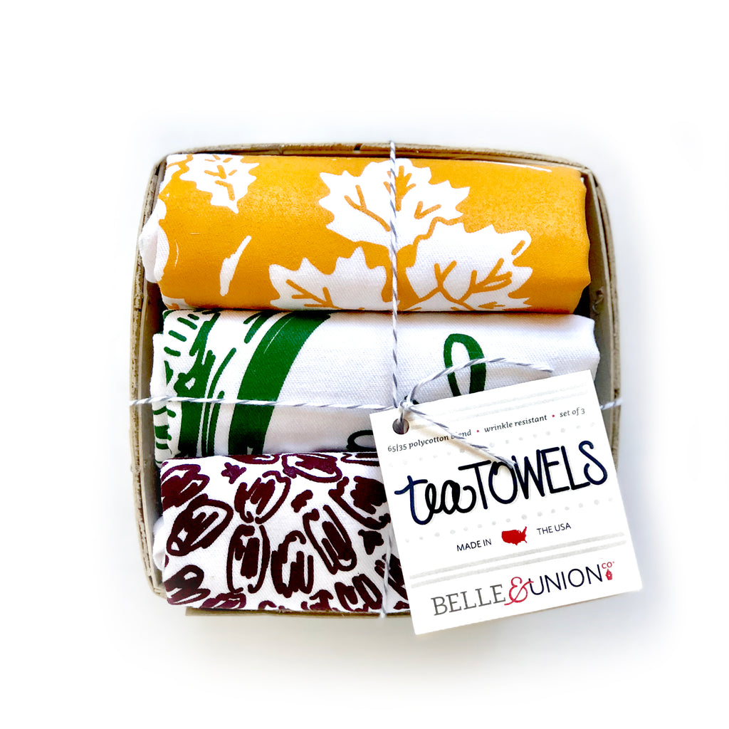 Festive Pies tea towel set