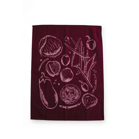 Farmer's Market tea towel - maroon