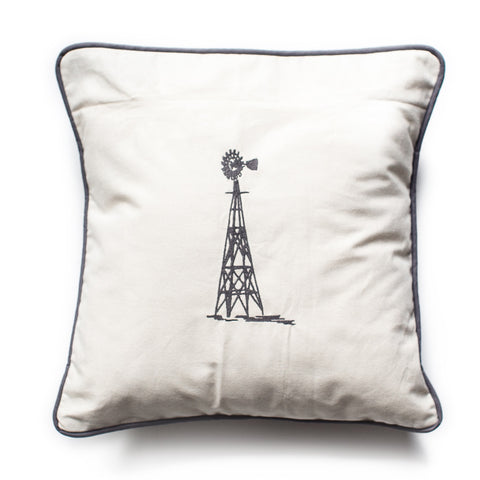 Windmill embroidered pillow