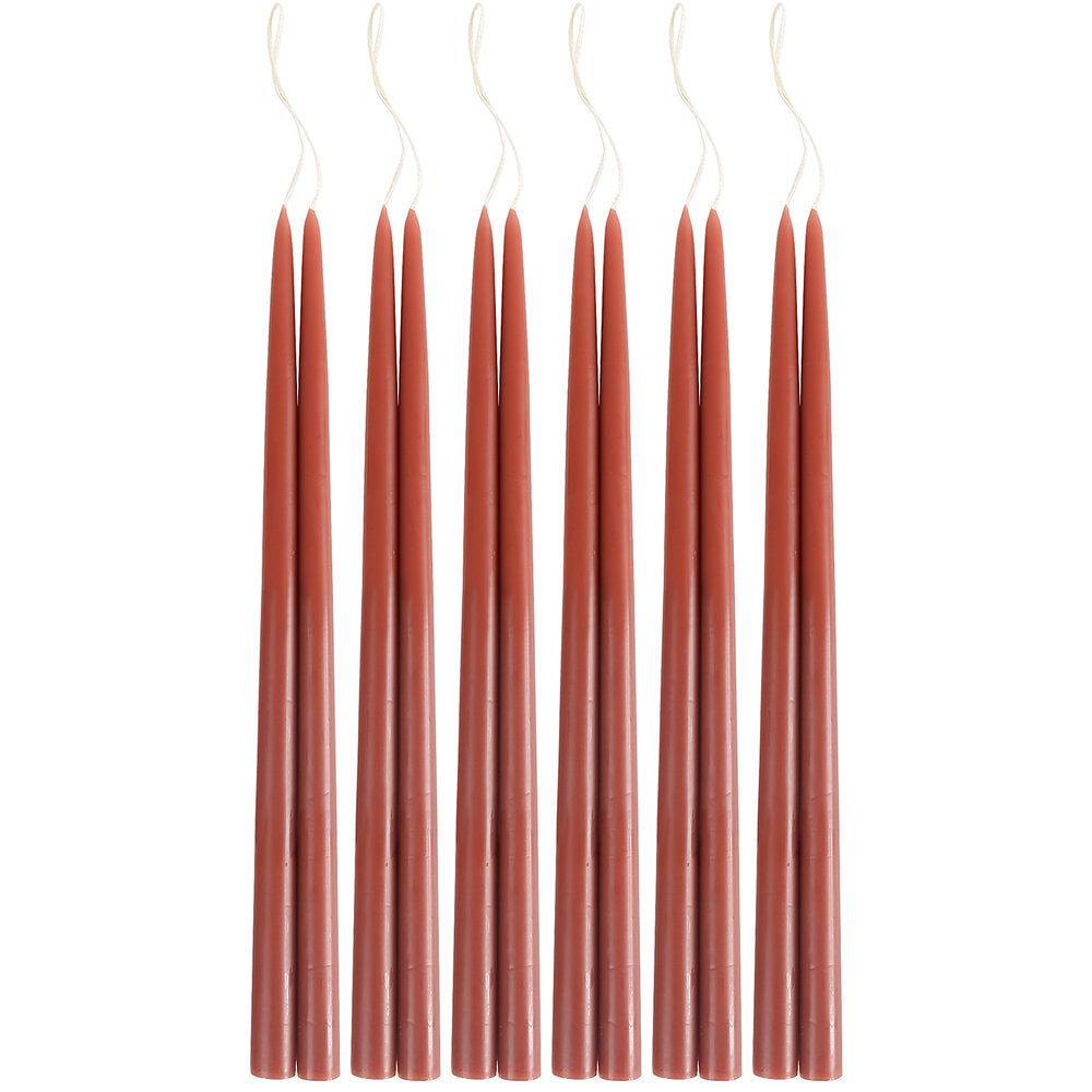 "Rust 12"" Taper Candle Pair"