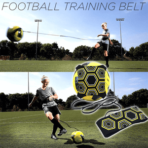 a boy is using foot ball training device