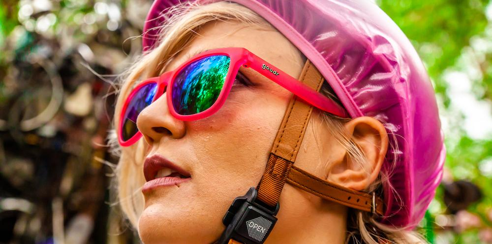 Pink goodr - The OGs - Modelled by a cyclist