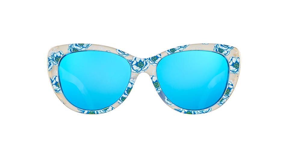 Blue Floral Cateye goodr - Runways - Front View